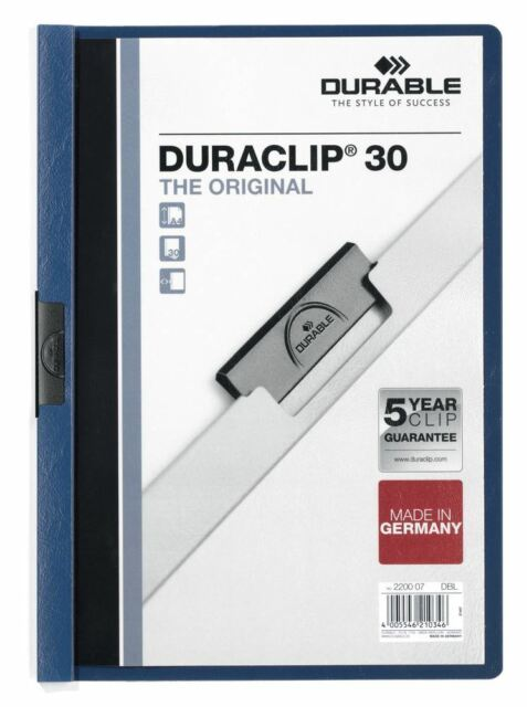 Durable Duraclip 30 - A4 Clip File 3mm  - Dark Blue - Pack of 25