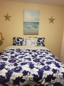 Blue watercolour floral Double Duvet  Cover and 2 pillow cases