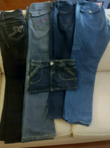 Designer Jeans pants and skirt. Guess, Parasuco, Rocawear