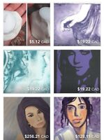 Original paintings, prints, and handmade candle holders