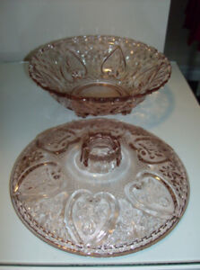 Pink Depression Glass Candy Dish with Lid + Japanese Tea Pot