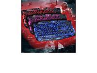 Backlight illuminated gaming keyboard