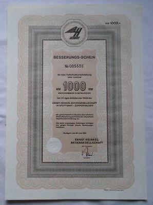 1000 Reichsmark Aktie Ernst Heinkel AG Besserungs-Schein 30.Juni 1962 (120947)