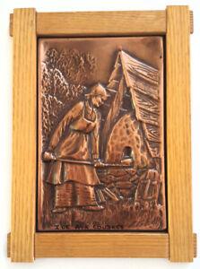 Cadre en cuivre sur socle en bois NADEAU