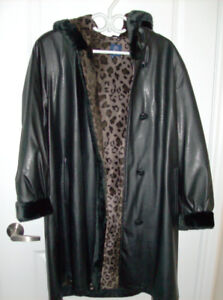 Size Large - Ladies Winter Coat with Animal Print Lining