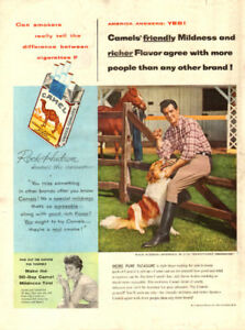 1954 large color magazine ad for Camels with Rock Hudson
