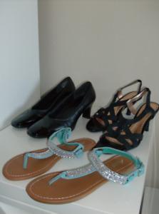 3 Pr. Size 7 Naturalizer Sandals and Pumps + Sparkle Sandals