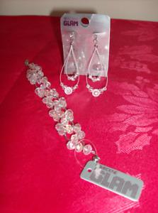 NEW Pierced Earrings & Bracelet Set  + Lovely Perfume
