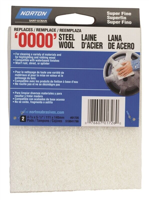 Norton 01726 Steel Wool Pads, Set of 2, #0000 Grit, Super Fine, White