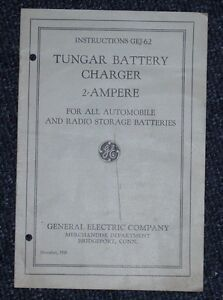 1928 Tungar Battery Charger Instructions GEJ-62 Model GE General