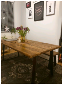 Rustic reclaimed farmhouse industrial style dining tables and benches