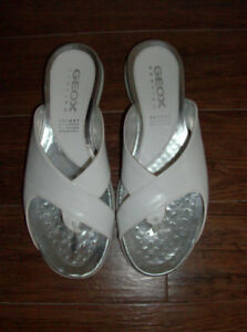 2 Pr Size 6-6.5 Naturalizer Sandals & Geox White Sandals