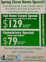 CARPET/UPHOLSTERY STEAM CLEANING-LONDON AREA