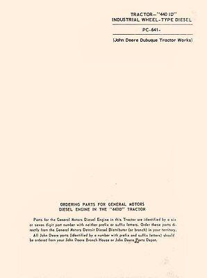 John Deere 440 Id Industr. Diesel Tractor Parts Manual