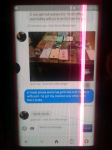 galaxy s7 edge with crack screen pink line