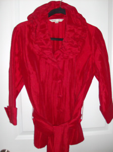 3 Pc Size M Women's Cleo Red Blouse/Jacket, Sweater, Linen Top