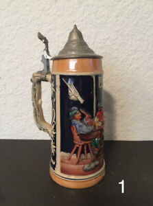 Vintage german lidded beer steins