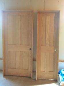 Solid core oak four panel interior doors
