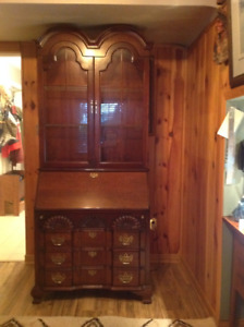 SECRETARY DESK with Glass Lighted Cabinet & Drop Down Desk
