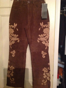 One of a kind Brown leather pants with appliqué
