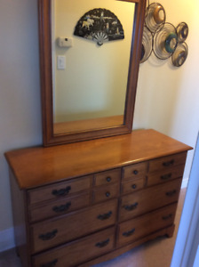 Solid Maple double dresser with mirror.