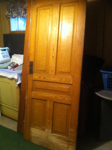 Solid old antique door--painted one side, stained on the other