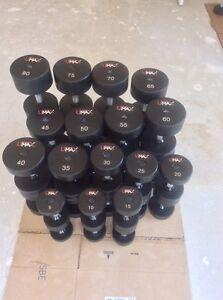 UMAX Polyurethane Commercial Dumbbells 5-80lbs Set