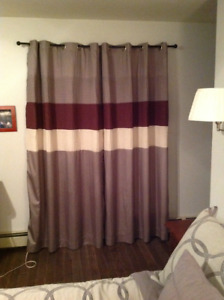 Two Curtain Panels ..Grey,Burgundy and Cream