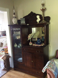 Antique maple display cabinet