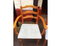 5 ladder back pine dining chairs