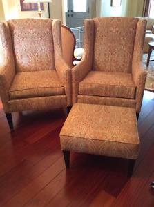 Barrymore Matching Chairs and Hassock, LIKE NEW