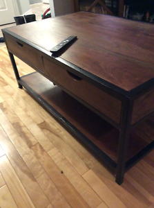Gorgeous coffee table solid wood and steel frame very heavy