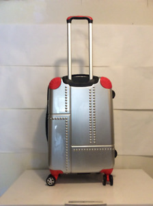 Silver and Red Hardcase Luggage