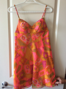 VINTAGE: 60's FUNKY BARBADOS ROLLED FABRIC SPAGHETTI STRAP DRESS