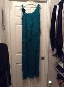 Green Lined 100% Silk Lace, beaded dress with shawl