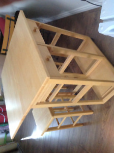 2 bar stools and folding table