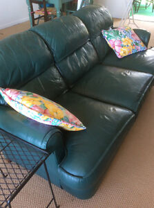 Forest green leather sofa Reduced to sell!