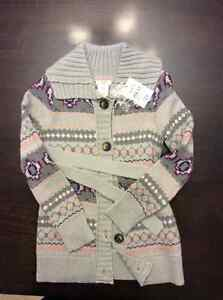 Brand New Girls Thin Knit Button Up Sweater with Belt, Size 6 -7