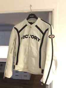 Victory Genuine Leather Motorcycle Bike Jacket women's Large