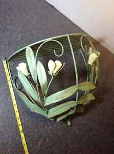 "Rustic metal shelf with green floral detail 13"" tall x 15"" wide"