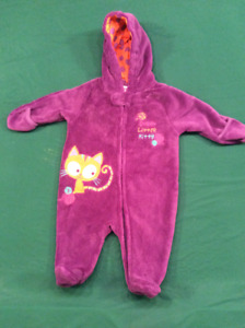 Baby Girl purple kitty snow suite,  size 6-9 months