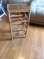 Bamboo shelf with glass top