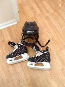 Winnwell x-lite hockey skates and CCM helmet