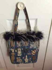 Unique Blue Dog Print Purse with Ostrich Feathers Windsor Region Ontario image 1