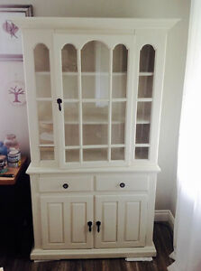 White Solid Pine Farmhouse Hutch and Buffet