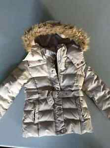 Toddler girl winter jacket with hood, full zip, size 3/4