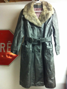 Manteau long cuir argenté fourrure /vintage silver leather coat