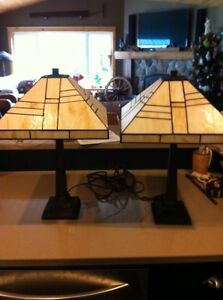 Matching Stained Glass Lamp Set