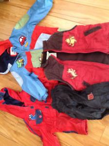 Hatley rain suit, 2 spring jackets, vest and play pants 18m