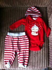H & M baby Christmas snowman vest, trouser, hat set, 2-4 months